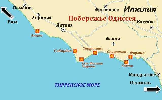 карта побережья Одиссея