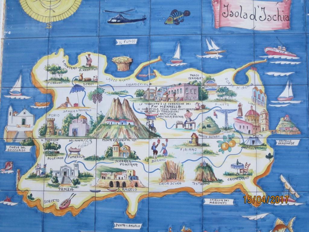 Карта острова Искья с достопримечательностями.