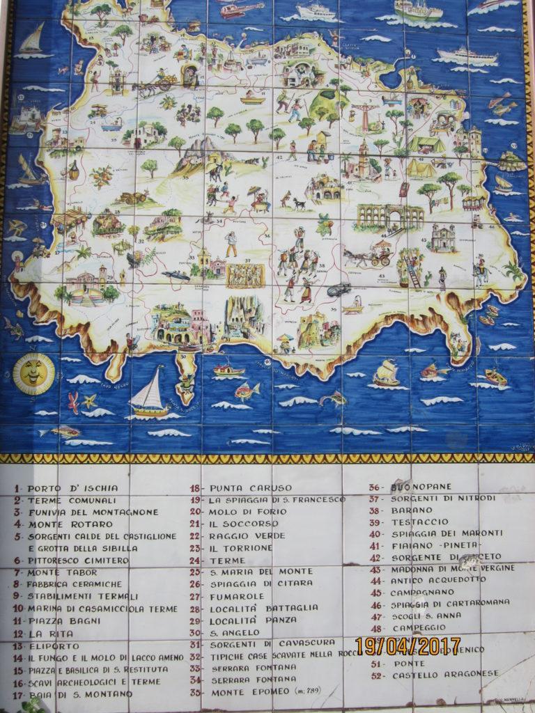 Карта Искья с городами и достопримечательностями.