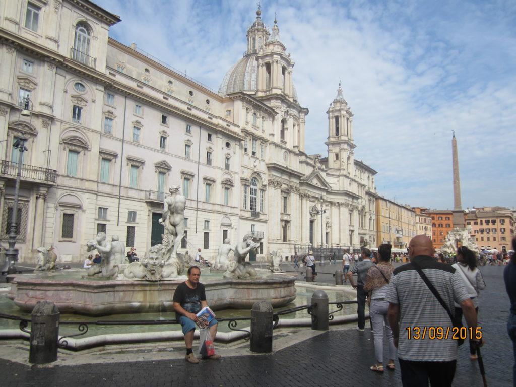 Piazza Navona. Палаццо Памфили и фонтан Мавр. Рим