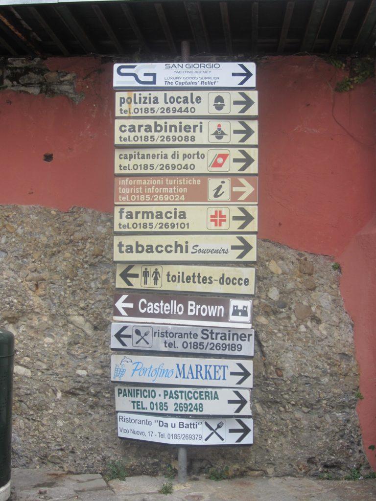 Указатели в центре Portofino.