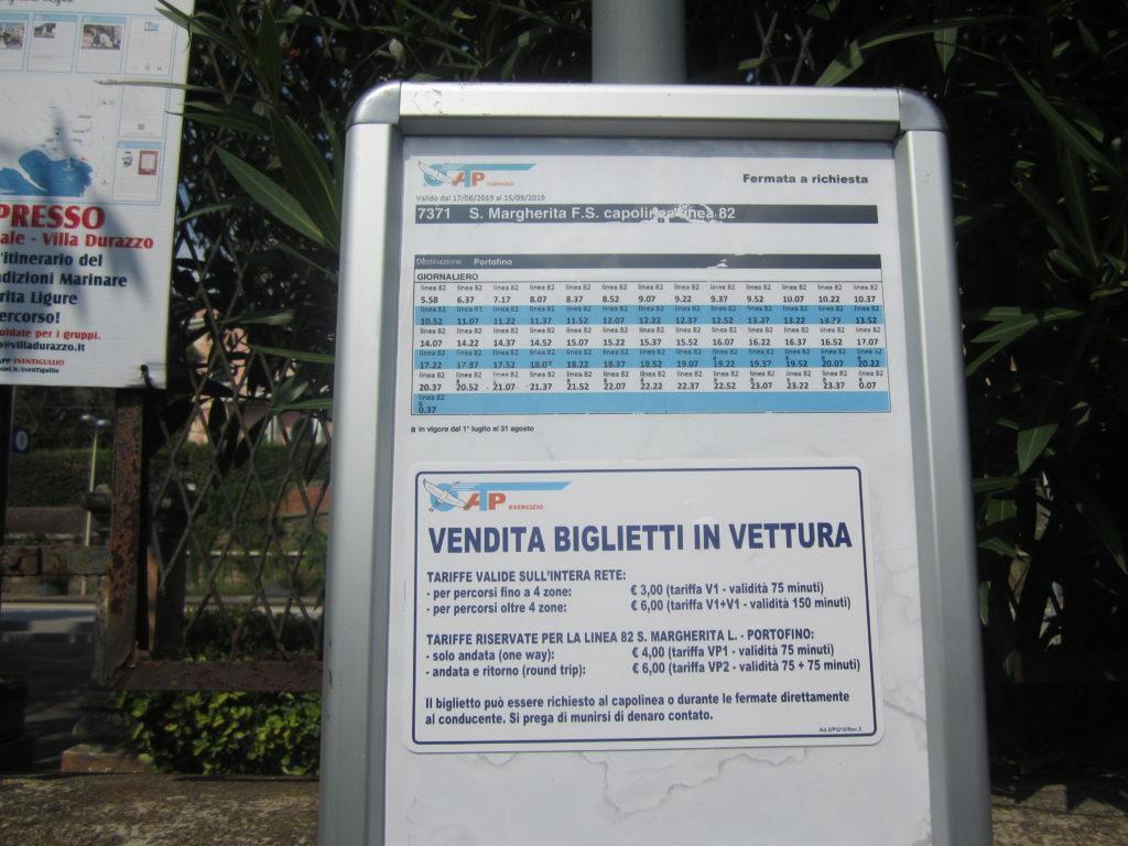 Расписание автобуса №82 из Санта-Маргарита-Лигуре в Портофино