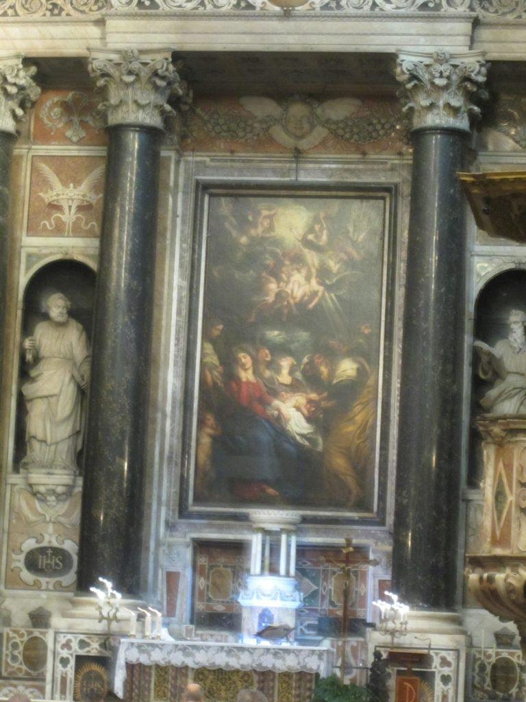 Chiesa il Gesu Genova. Полотно Рубенса