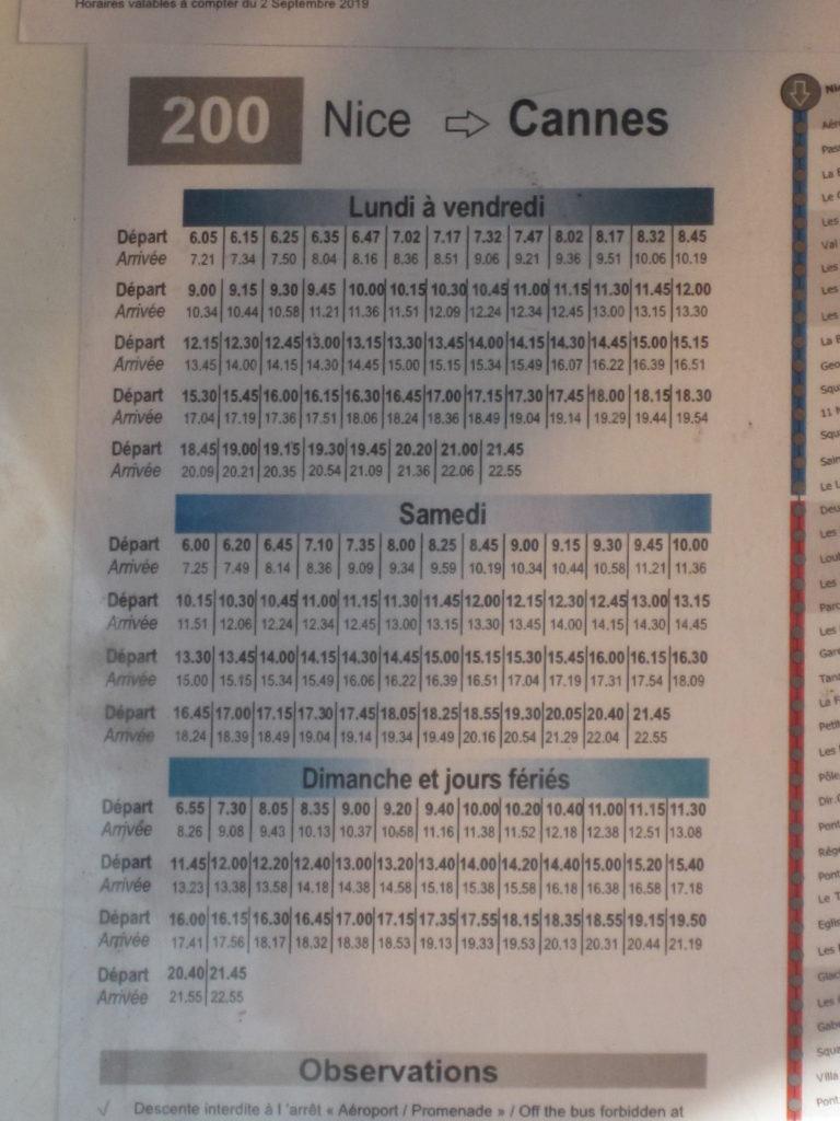 Расписание автобуса №200 из Ниццы в Канны